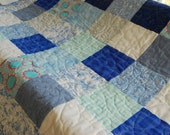 Shades of Blue Baby Quilt - Sale Price