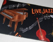 Fabric Jazz Post Card, Fabric Piano Post Card, Musical Instrument Post Card,