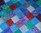 Turquoise Blue Purple Aqua Teal Red Mini Quilt