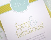 Invitations and Favor Tags - Forty & Fabulous - 12PK