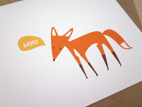Hello - Fox Handmade Card