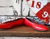 Vintage 80's RED Flats Size 8.5
