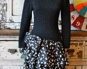 Vintage 1980's Black and White Ruffle Dress
