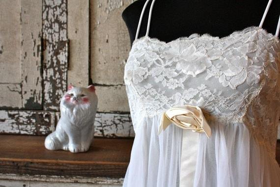 Vintage Romantic White Lace Slip Dress