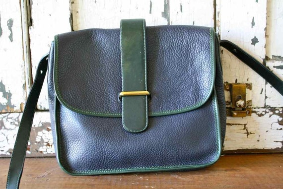 Vintage Navy and Hunter Green Pebbled Leather Cross Body Purse by Chesneau