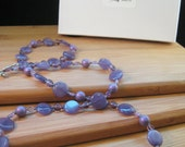 Purple Lavender Necklace in Glass and Stone