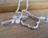 Open Clover Charm Necklace - Silver and Pink