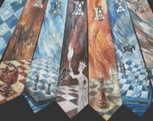 Custom men silk tie hand painted by artist, gift for him, VIP service. I will paint three designs, and you can choose your favorite!