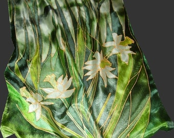 "Custom Floral hand Painted Silk Scarf in your colors, based on your ideas. One-of-the-kind birthday gift. Artist scarf 18"" x 71"" 100% silk"
