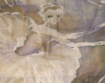 "Anersens fairy tale original silk painting ""Ballerina and tin soldier"". Unframed batik painting on pure silk by SingingScarves"