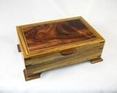 keepsake box mens valet box wooden Zebrawood with Hawaiian Curly Koa