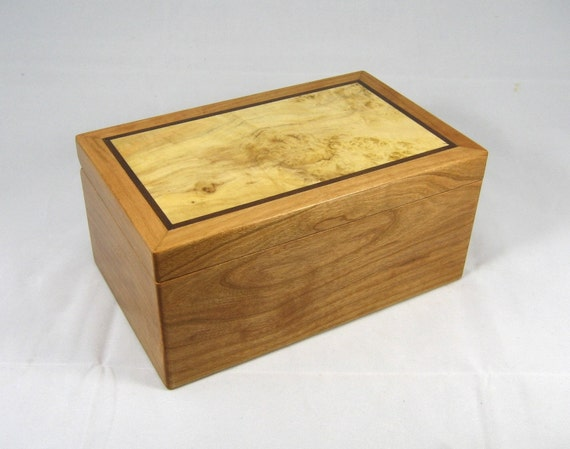 wooden keepsake box cherry and box elder burl