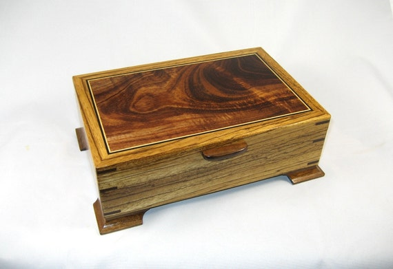 Keepsake Box Mens Valet Box Wooden Zebrawood With Hawaiian