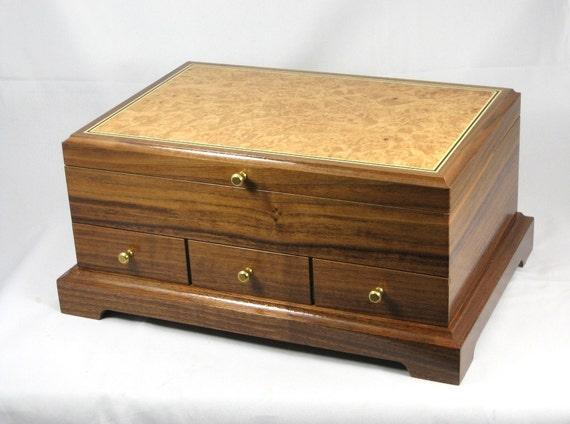 jewelry box wood Walnut with Maple Burl