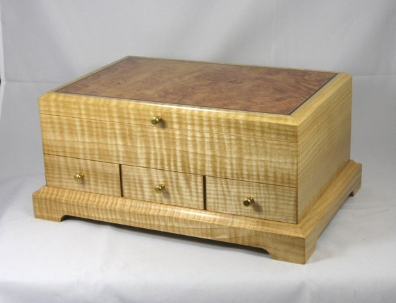 jewelry box wood Curly Maple with Maple Burl lid   *Free shipping,use code freeship*