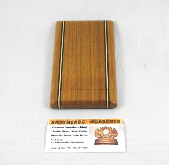 Business Card Case Canarywood with Ebony and Maple accents
