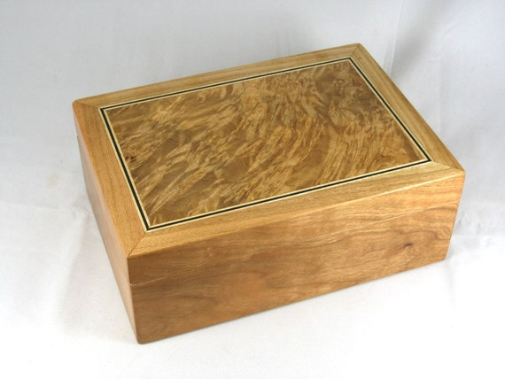 wooden keepsake mens valet box -  Cherry with Maple Burl