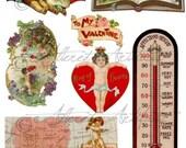 Love Tokens Valentine Vintage Digital Collage Sheet  Download