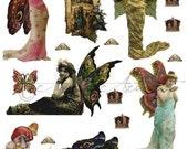 Printable Mystic Fairy Paper Dolls Vintage Fairies Printable Puppet Printable Fairy Wings Digital Collage Sheet Instant Download