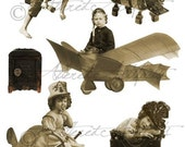 Steampunk Fairy Printable Vintage Sepia Paper Doll Photo Steampunk Fairies Puppet Flying Machines Digital Collage Sheet Instand Downloadload