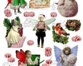 Christmas Fairy  Fairies Sprites Digital Collage Sheet Altered Clip Art