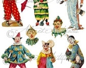 Printable Clowns Clip Art Printable Vintage Circus Preformers Paper Doll Scrap Puppets Foolish Folies Digital Collage Sheet Instant Download