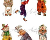 Circus Clowns Jesters Vintage Clip Art Scrap Digital Collage Sheet for your Puppet Theaters Clowning Around Instant Download