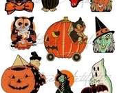 Printable Retro Halloween Clip Art Printable Vintage Halloween Scraps Ghost Witch Owl Black Cat Digital Collage Sheet Instant   Download