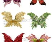 Printable Fairy Wings Digital Fairy Wings Printable Floral Wings Botanica Wings Wing Clip Art Printable Scrap Collage Sheet Instant Download