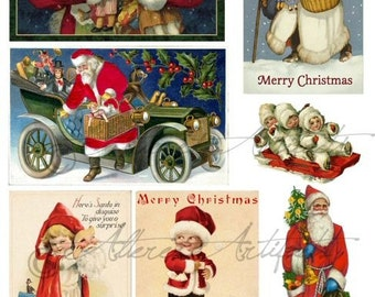 Instant Download Jolly Ole Saint Nick Christmas Vintage Postcard Altered Art Digital Collage Sheet