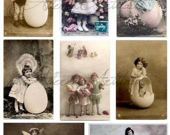 Instant Download Easter Eggtravaganza Vintage Postcard Scraps Digital Collage Sheet