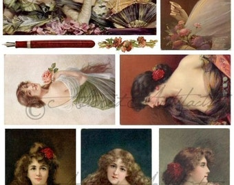 Instant Download Lovely Laidies PostcardsVictorian Women Art Paintings Vintage Postcard Clip Art Digital Collage Sheet