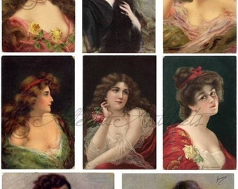 Instant Download Ladies Of The Night Victorian Women Art Paintings Vintage Postcard Clip Art Digital Collage Sheet