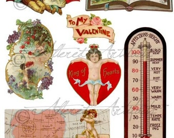 Instant Download Love Tokens Valentine Vintage Digital Collage Sheet