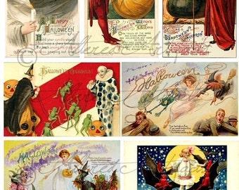 Printable Vintage Halloween Postcard Winsch Schmucker Witch Postcard Scraps Halloween Clown Clipart Digital Collage Sheet Instant Download