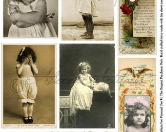 Instant Download Little Miss PostcardsVictorian Label Lable Vintage Postcard Clip Art Girls Child Digital Collage Sheet