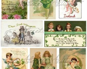 Instant Download Saint Patrick Patrick's Vintage Postcards Digital Collage Sheet Victorian Scrap