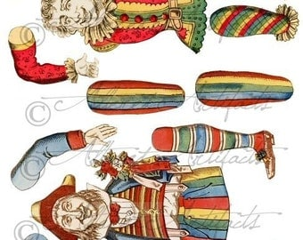 Printable Vintage Paper Puppet Printable Antique Puppet Articulated Clown Puppet Happy Jumping Jack Collage Sheet Instant Download