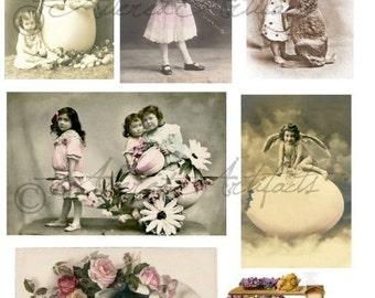 Instant Download Easter Affair Vintage Postcard Digital Collage Sheet Childern