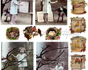 Instant Download Song Bird Fairy Vintage Postcard Clip Art Child Music Digital Collage Sheet