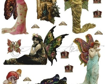 Printable Mystic Fairy Paper Dolls Vintage Fairies Printable Puppet Printable Fairy Wings Digital Collage Sheet Instant Download