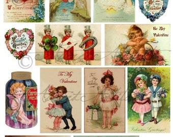 Instant Download Heart Throb Vintage Postcard Valentine Scrap Digital Collage Sheet
