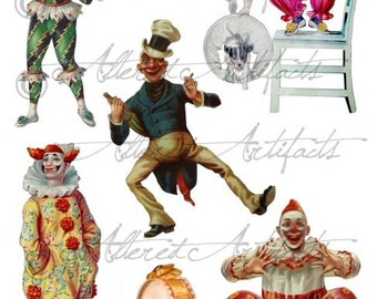 Printable Clowns Clip Art Printable Vintage Circus Preformers Paper Doll Scrap Theater Puppets Digital Collage Sheet Instant Download
