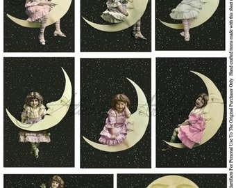 Instant Download Over The Moon Vintage Postcard Children Fairy Party Clip Art Digital Collage Sheet Fairies