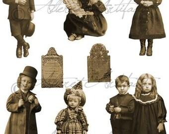 Printable Steampunk Halloween Puppet Printable Vintage Sepia Paper Doll Graveyard Witch Warlock Sepia Digital Collage Sheet Download