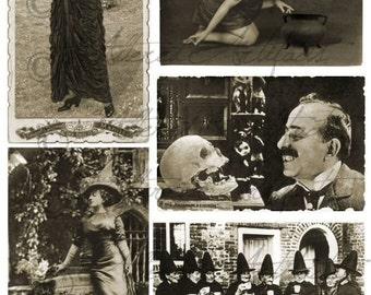 Printable Vintage Halloween Sepia Postcard Printable Halloween Postcard Spellbound Witch Scraps Clipart Digital Collage Sheet Download