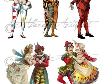 Printable Clowns Clip Art Printable Vintage Circus Preformers Paper Doll Scrap Puppets Jokesters Digital Collage Sheet Instant Download