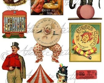 Printable Clowns Clip Art Printable Vintage Circus Preformers Paper Doll Scrap Puppets Big Top Digital Collage Sheet Instant Download