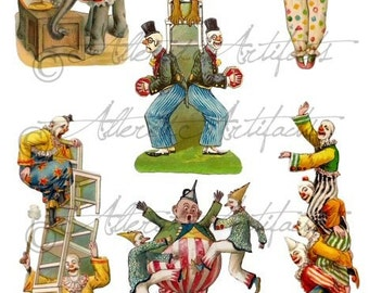 Printable Clowns Clip Art Printable Vintage Circus Preformers Paper Doll Scrap Puppets Up & Up Digital Collage Sheet Instant Download
