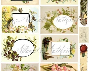 Instant Download Vintage Florals Photo Album Frames Altered Art Digital Collage Sheet